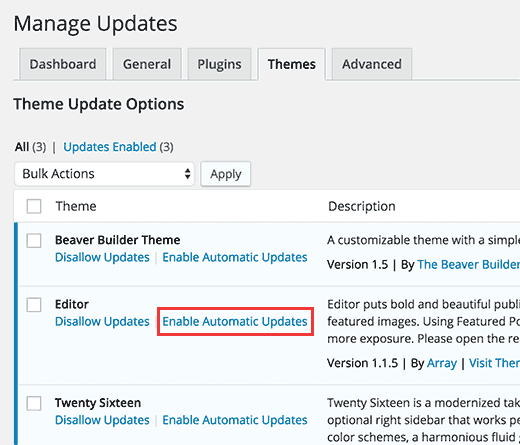 Select which themes to automatically update