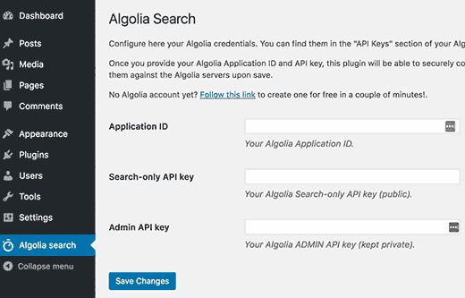 Algolia plugin settings page