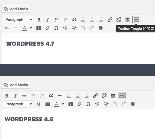 Editor changed in WordPress 4.7