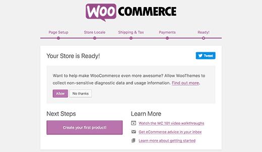 WooCommerce setup finished | Start an Online Store