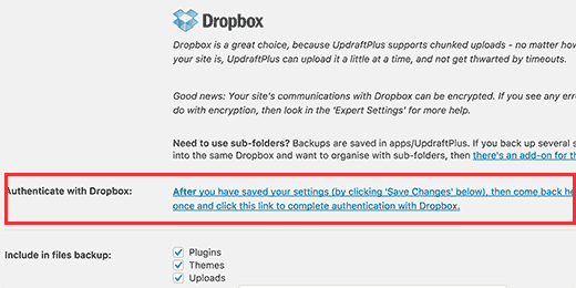 Setting up Dropbox as your remote storage service for backups