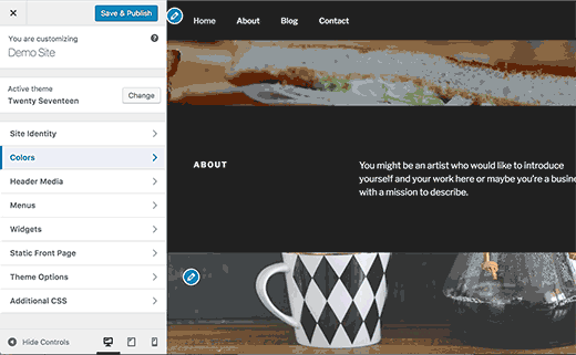 Starter content added by Twenty Seventeen theme in WordPress 4.7