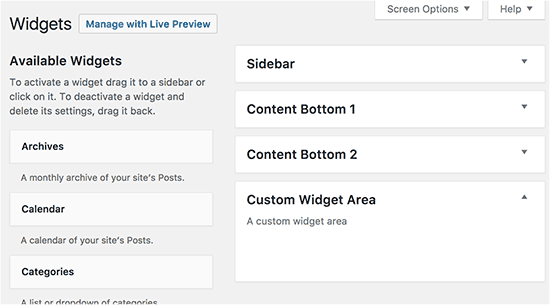 Newly registered widget area in WordPress