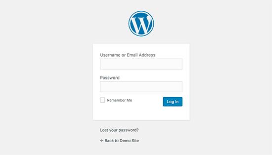 WordPress página de inicio de sesión