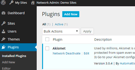 Network activated plugins