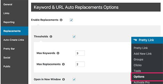 Auto link options