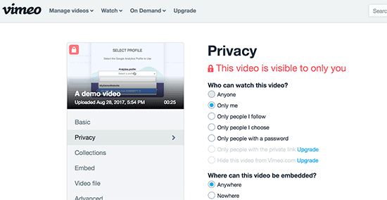 Privasi video Vimeo