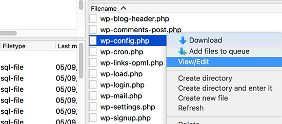 Editing wp-config.php file via FTP