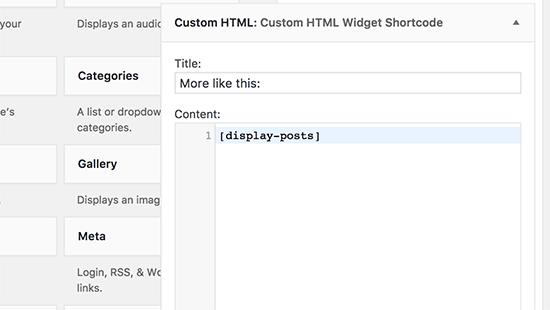 Adding shortcode inside Custom HTML widget in WordPress