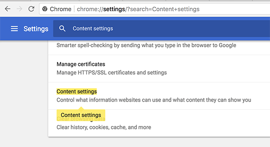 Content settings in Google Chrome