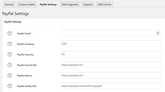 LearnDash PayPal payment settings