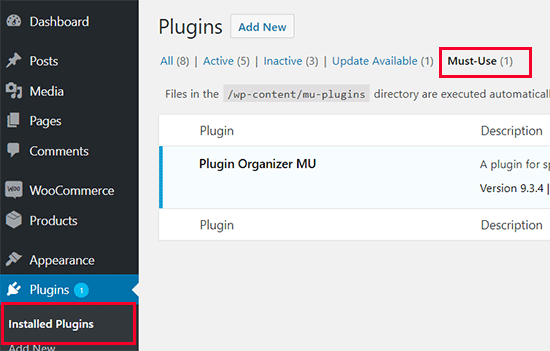 Must Use plugins installed in WordPress