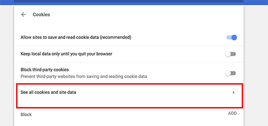 View all cookies and site data