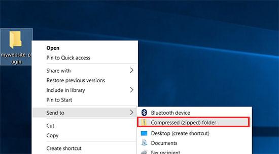 Creating zip file in Windows