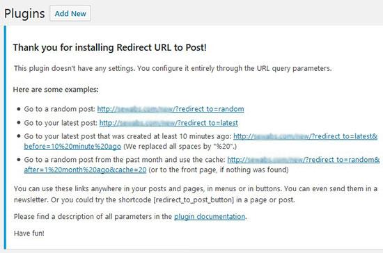 Redirect URL parameters