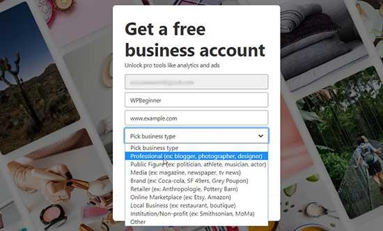 Add business information on Pinterest
