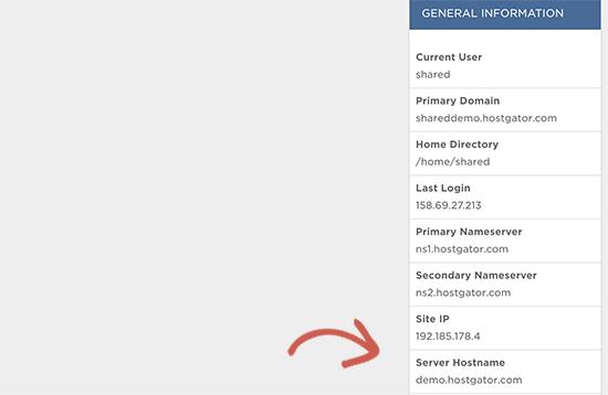 HostGator server hostname