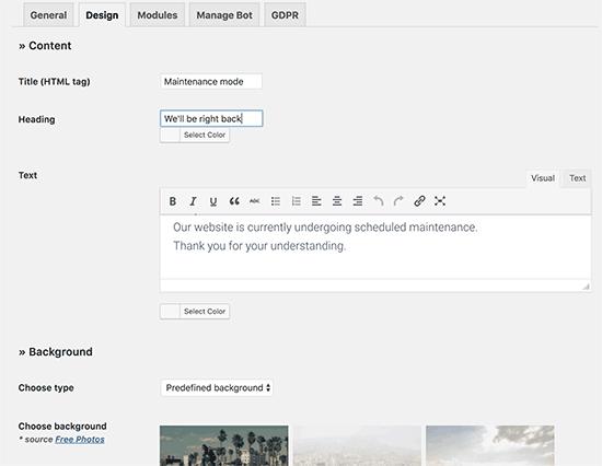 Design your maintenance page