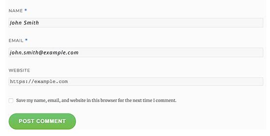 Comment form button style