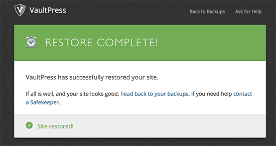 VaultPress restore successful