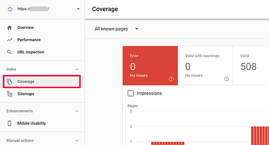 Index coverage report in Google Search Console