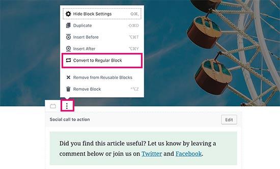 Convert to regular block