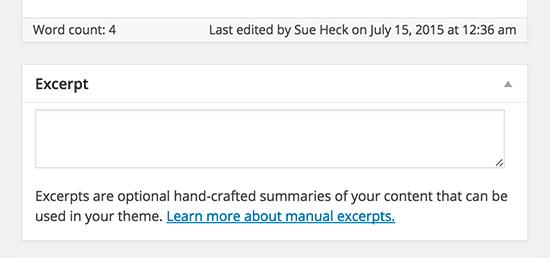 Добавление пост выдержки в классическом редакторе