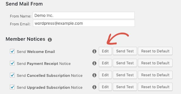 Editing email notifications in MemberPress