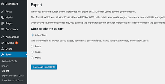 Exporting content in WordPress