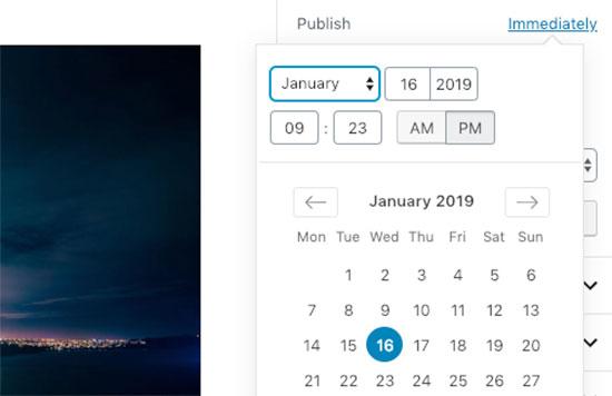 Publiceer datum en tijd na publicatie