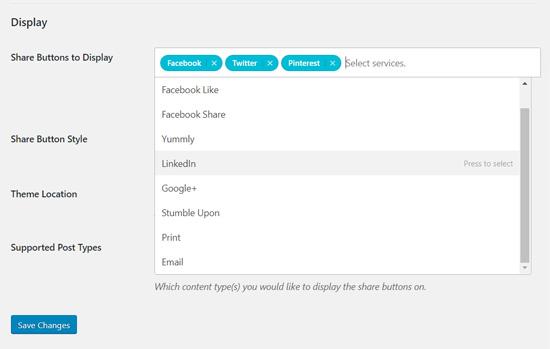 Добавьте кнопки социальных сетей в Общее число