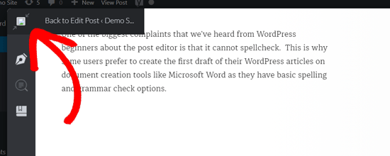 Back to Edit Post in WordPress