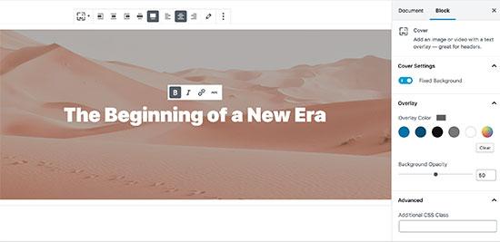 Adding cover image in WordPress post