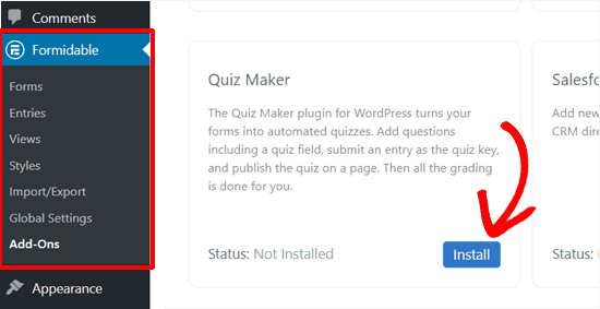 Install Formidable Forms Quiz Maker
