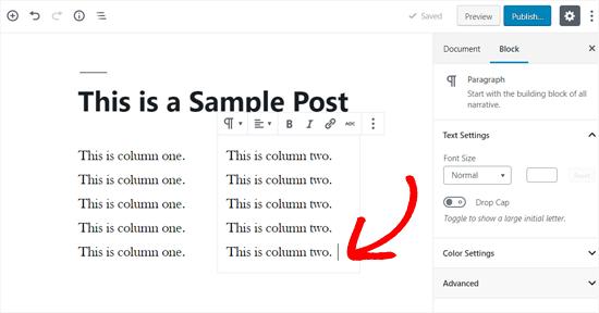 Добавить текст в ваши столбцы WordPress
