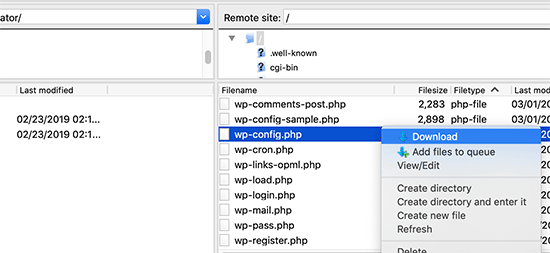 Download wp-config.php file to your computer
