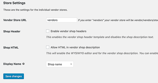 Store settings for vendors