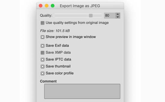 Export image in GIMP