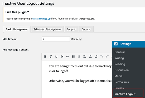 Settings page for Inactive Logout plugin