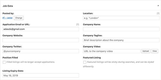 Enter job details