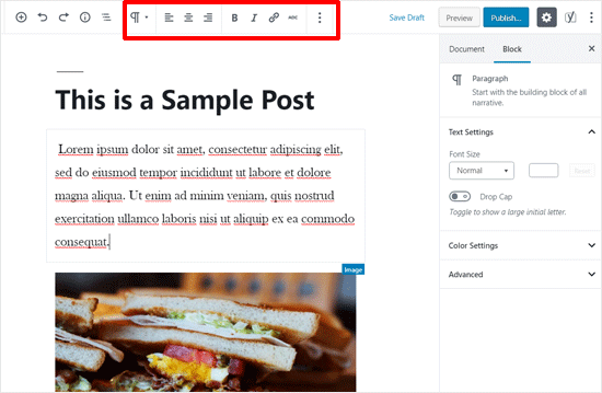 Top Toolbar Enabled in WordPress Post Editor