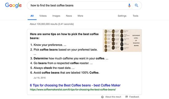 Окно ответа в результатах поиска