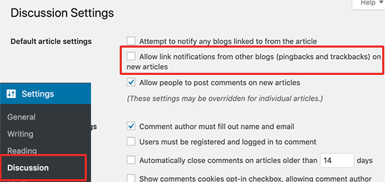 Disable trackbacks in WordPress