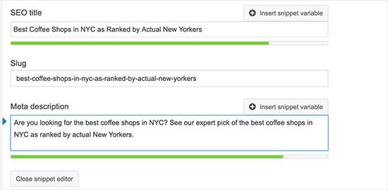 Добавление мета-описания для ваших сообщений в блоге в Yoast SEO
