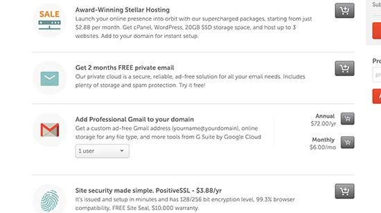 Upselling services