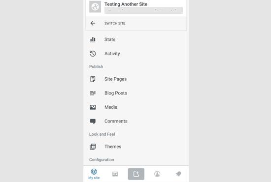 WordPress App dashboard