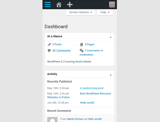 WordPress admin area on mobile browser