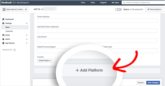 Facebook app platform button