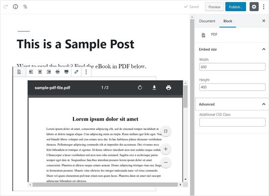 PDF, встроенный в WordPress Post Editor