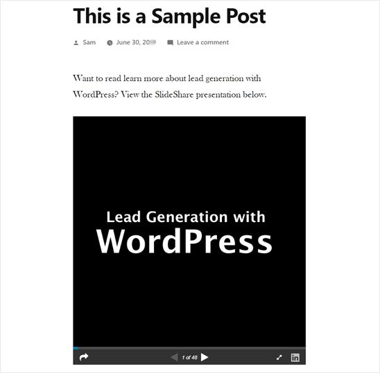 Презентация SlideShare добавлена в WordPress - Предварительный просмотр